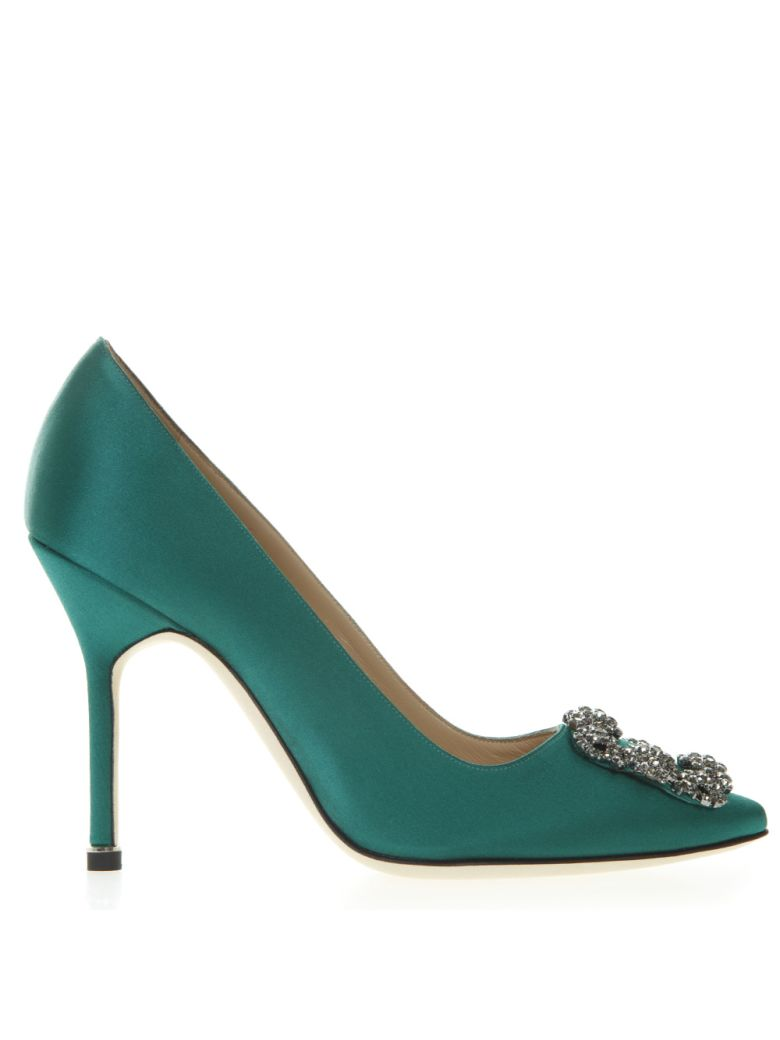 508e6ab40de Manolo Blahnik Manolo Blahnik Hangisi Green Satin Pumps - Green ...