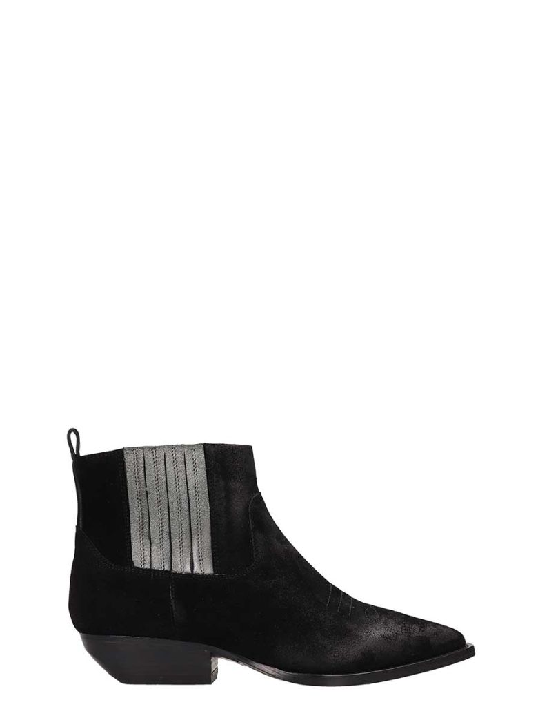 Julie Dee Black Suede Leather  Tex Ankle Boots - Black