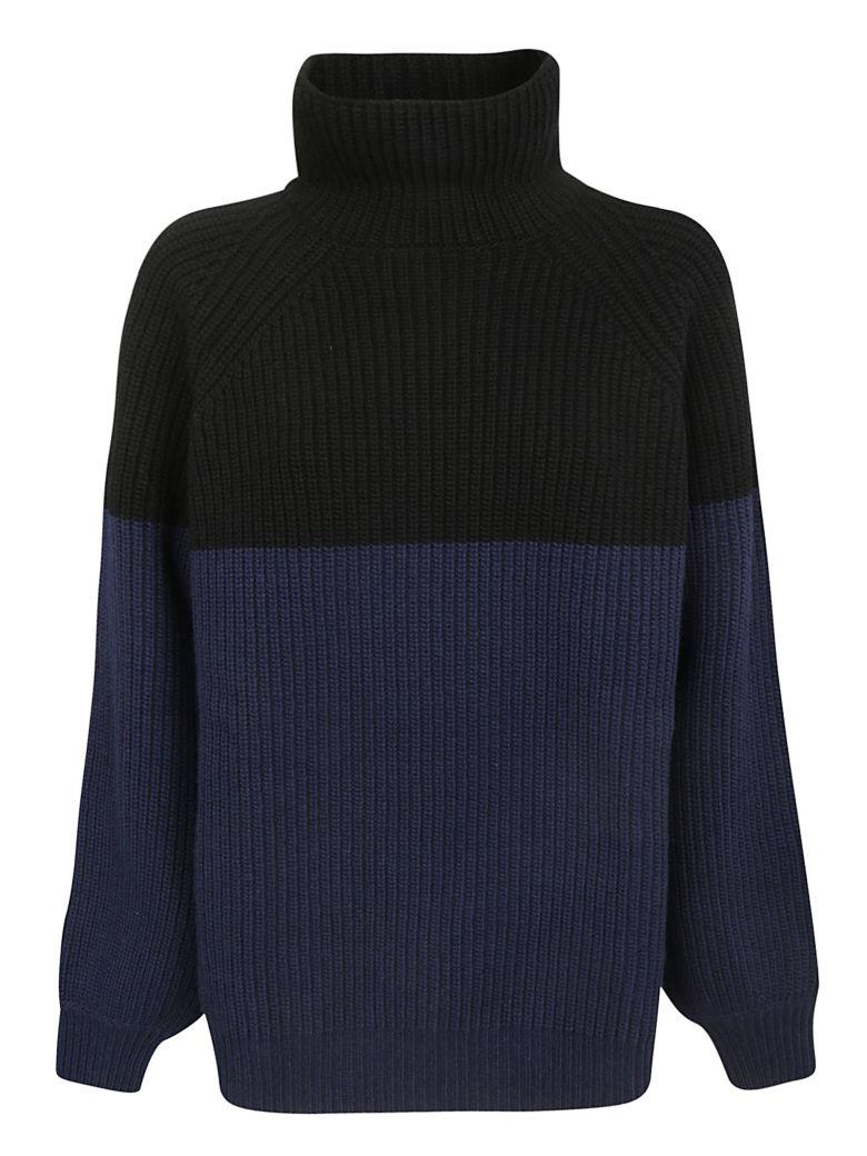 Rochas Color Block Sweater - Navy/black