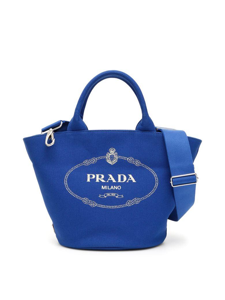 Prada Logo Hemp Shopping Bag - COBALTO (Blue)