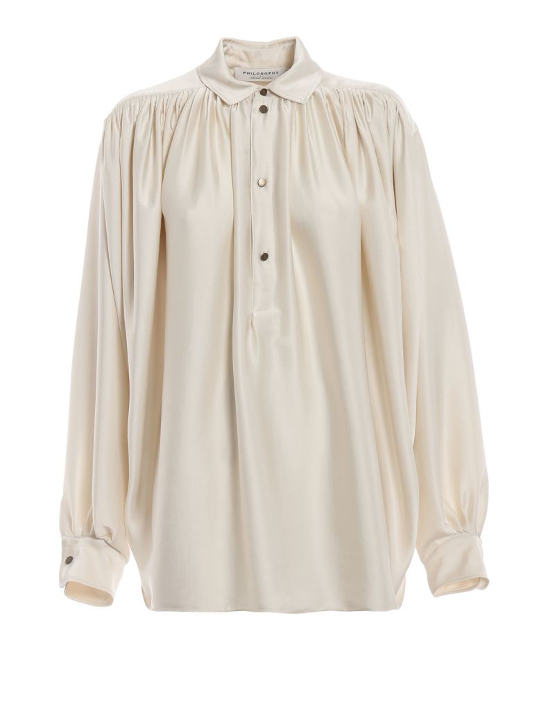 Philosophy di Lorenzo Serafini Philosophy Oversized Ruched Blouse - Bianco