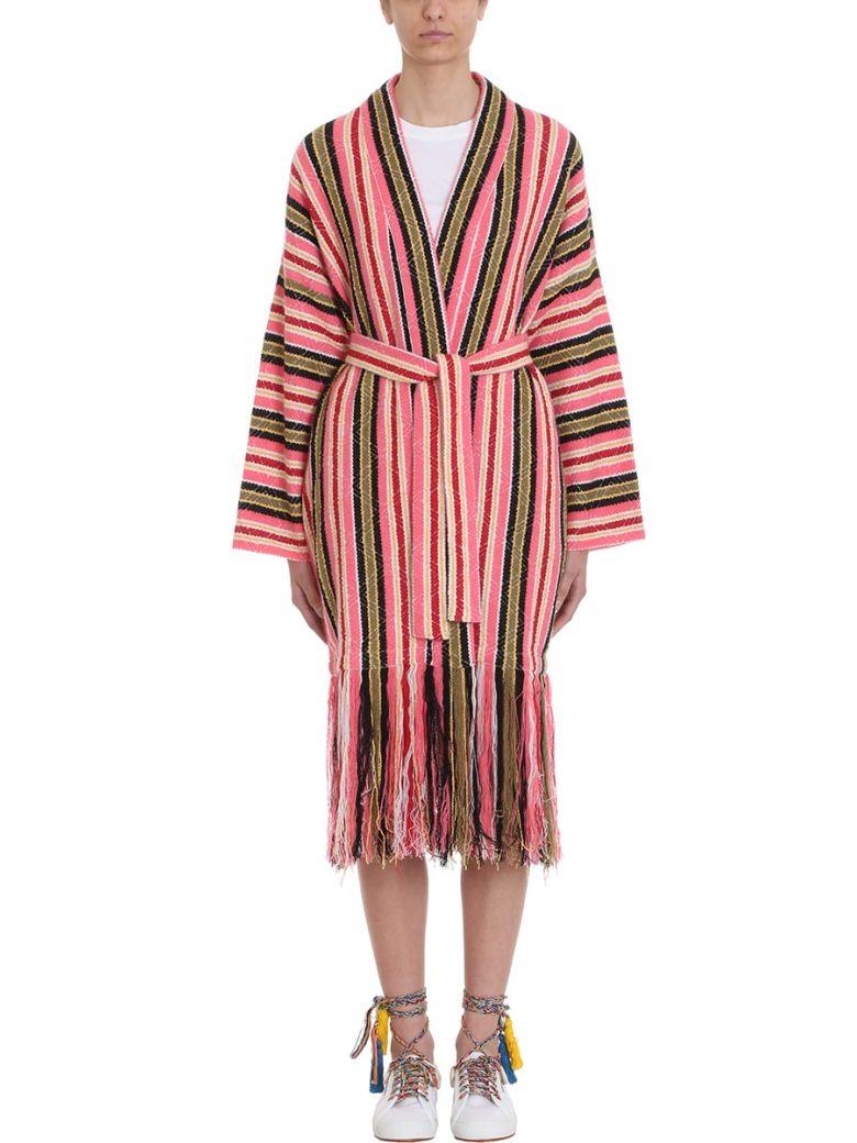 Alanui Baja Stripes Fringe Cardigan - rose-pink