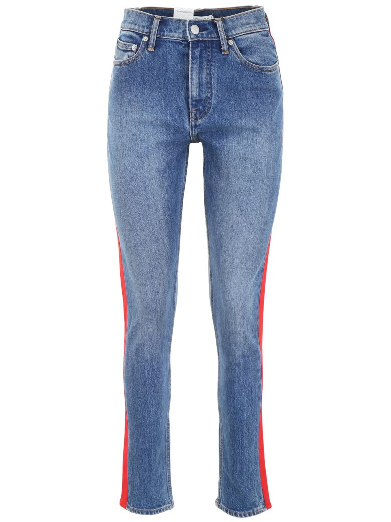 Calvin Klein Jeans Jeans With Side Bands - MID STONE AND RED (Blue)