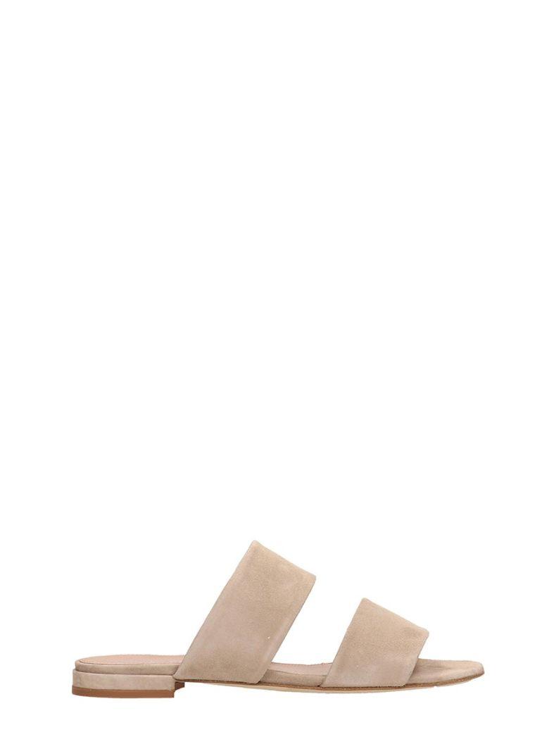Julie Dee Beige Suede Leather Flat Sandals - Beige