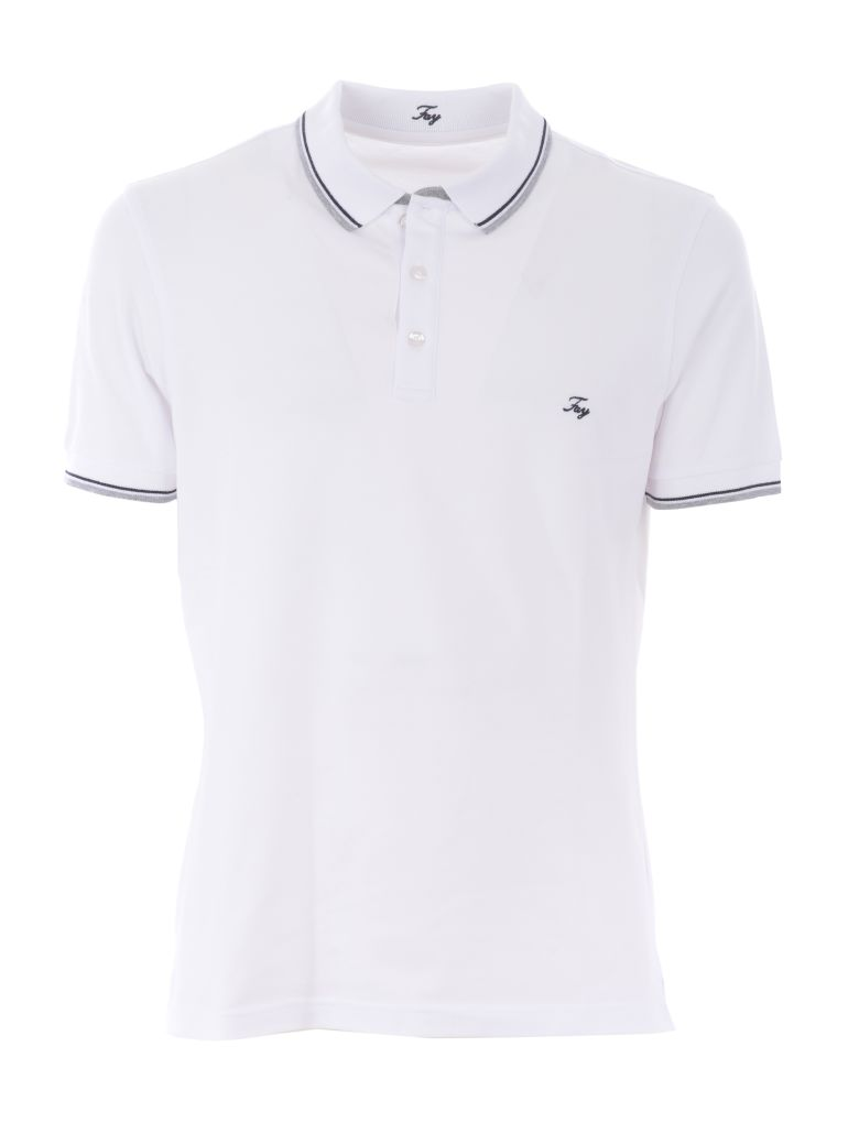 Fay Embroidered Logo Polo Shirt - Bianco