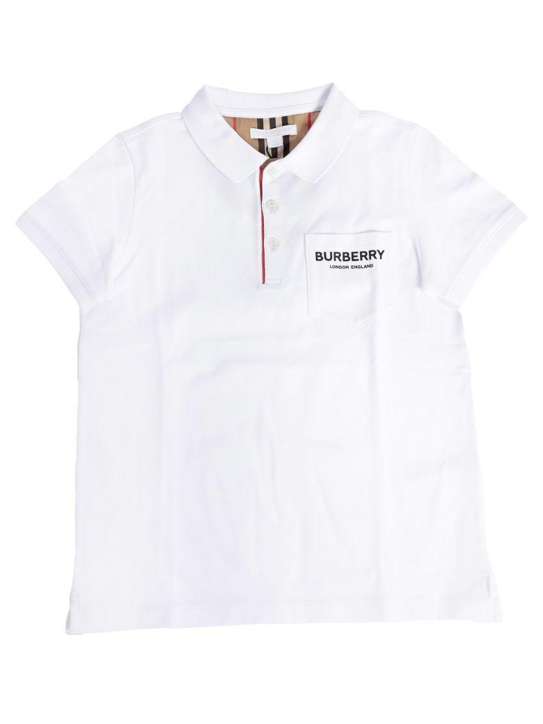 Burberry Kids Logo Pocket Patch Polo Shirt