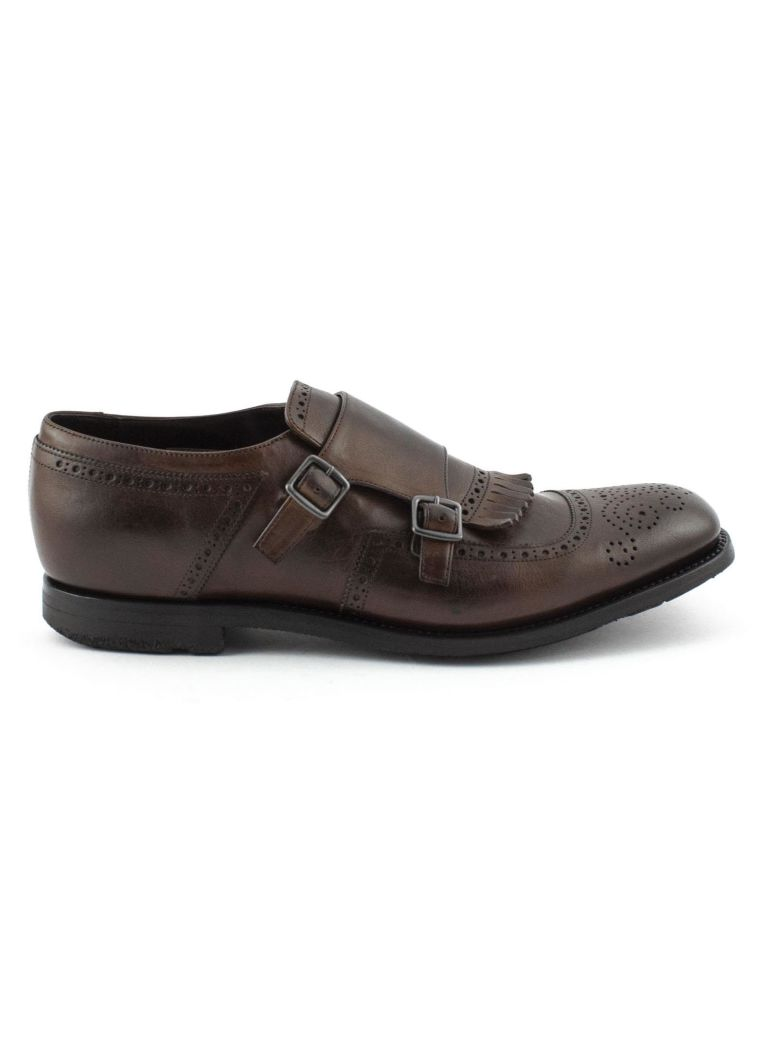 Church's Brown Smooth Leather Shanghai Monk Shoes. - Marrone