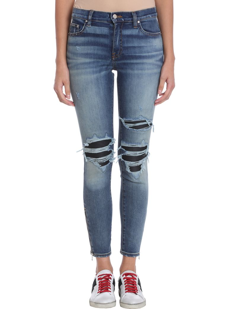 AMIRI Leather Patch Biker Blue Denim Jeans - blue