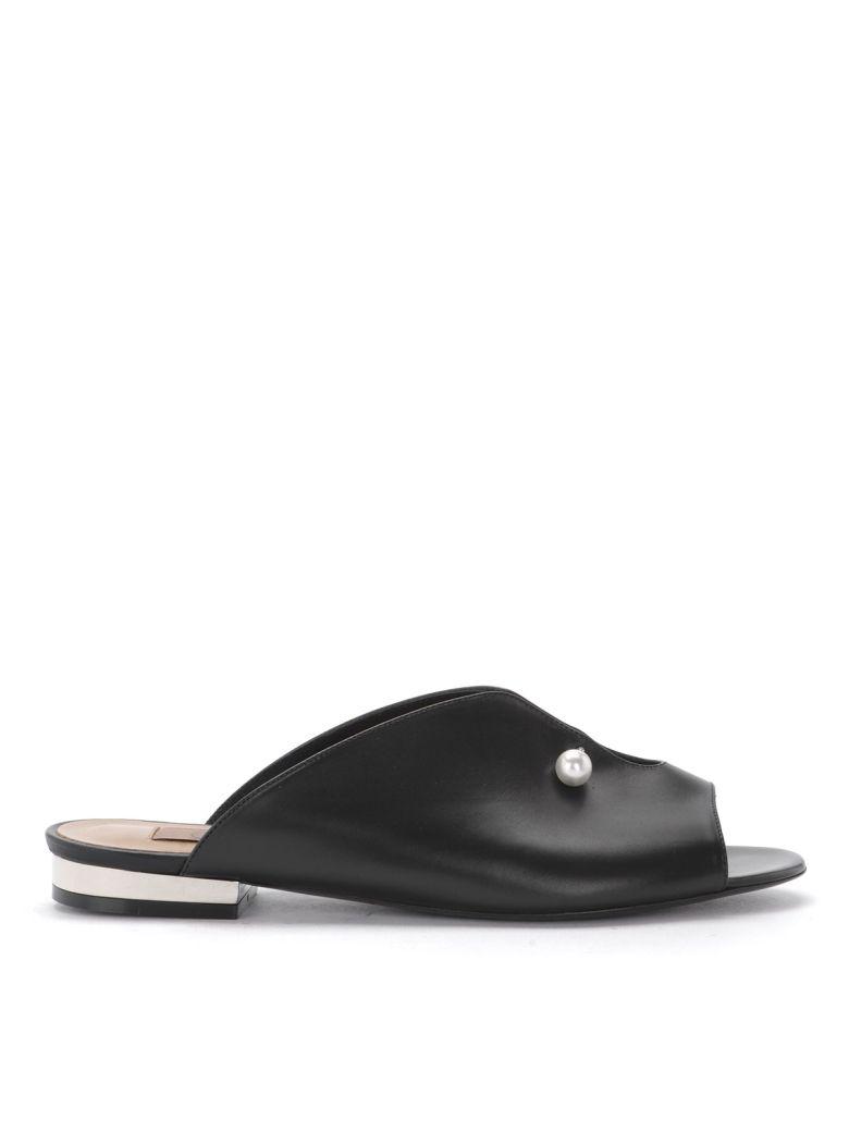 Coliac Lucilla Black Leather Sandal With Jewel - Black