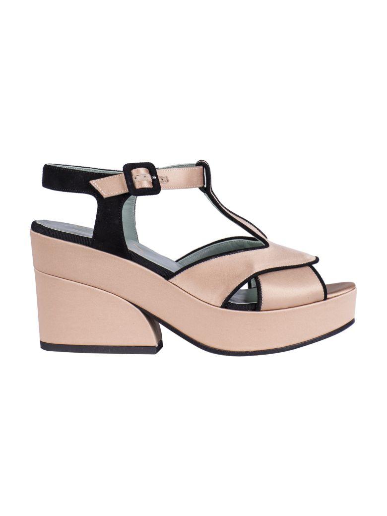 Paola D'Arcano Bicolor Platform Sandals - Nude