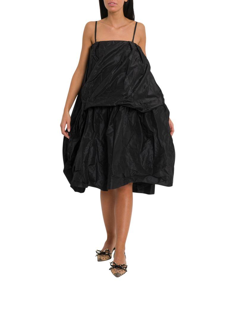 Simone Rocha Black Silk Taffeta Apron Front Dress - Nero