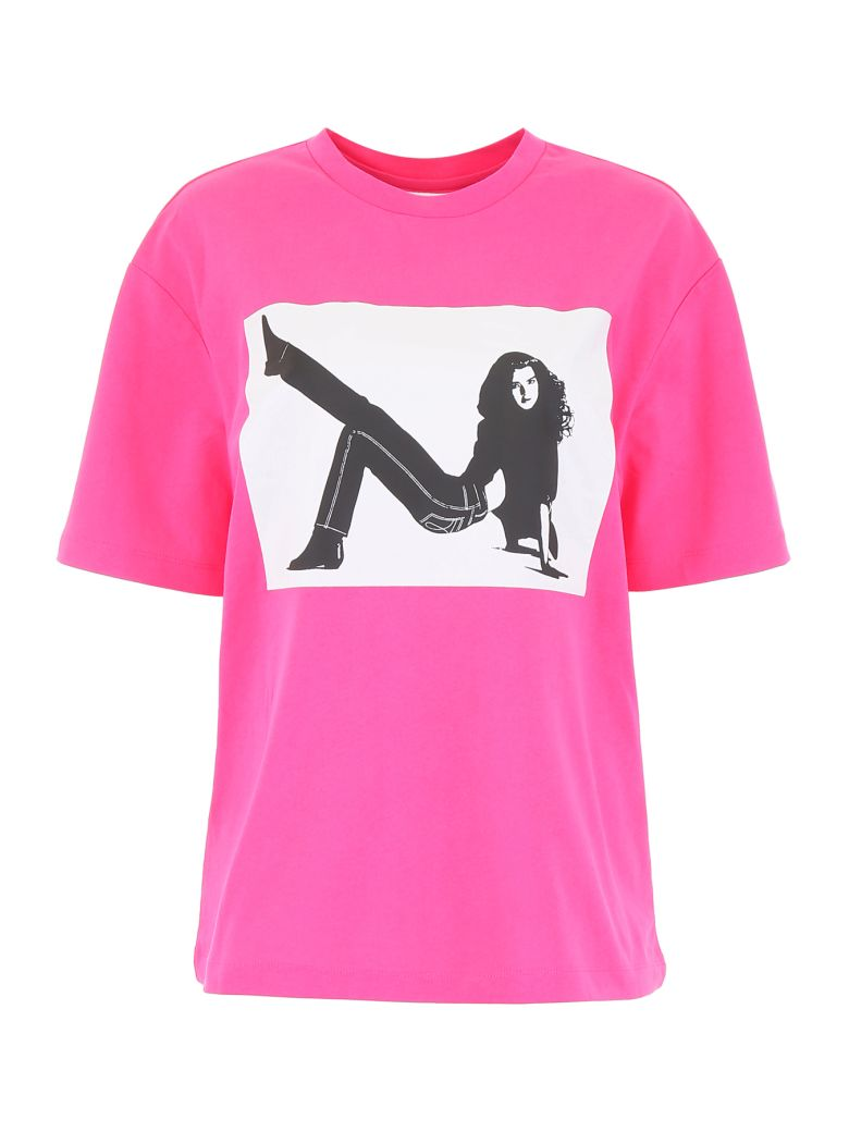 Calvin Klein Icon Print T-shirt - FUCHSIA WHITE BLACK ICON BIG (Fuchsia)