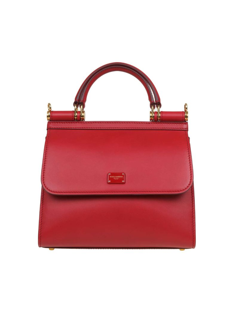 Dolce & Gabbana Sicily Bag 58 Small In Calf Leather - Red