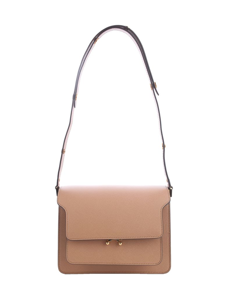 Marni Trunk Medium Leather Sahoulder Bag - Beige