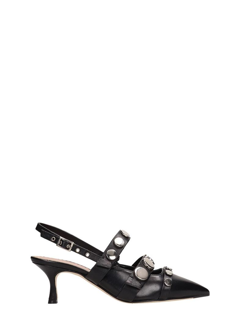 Julie Dee Black Leather Pumps - Black