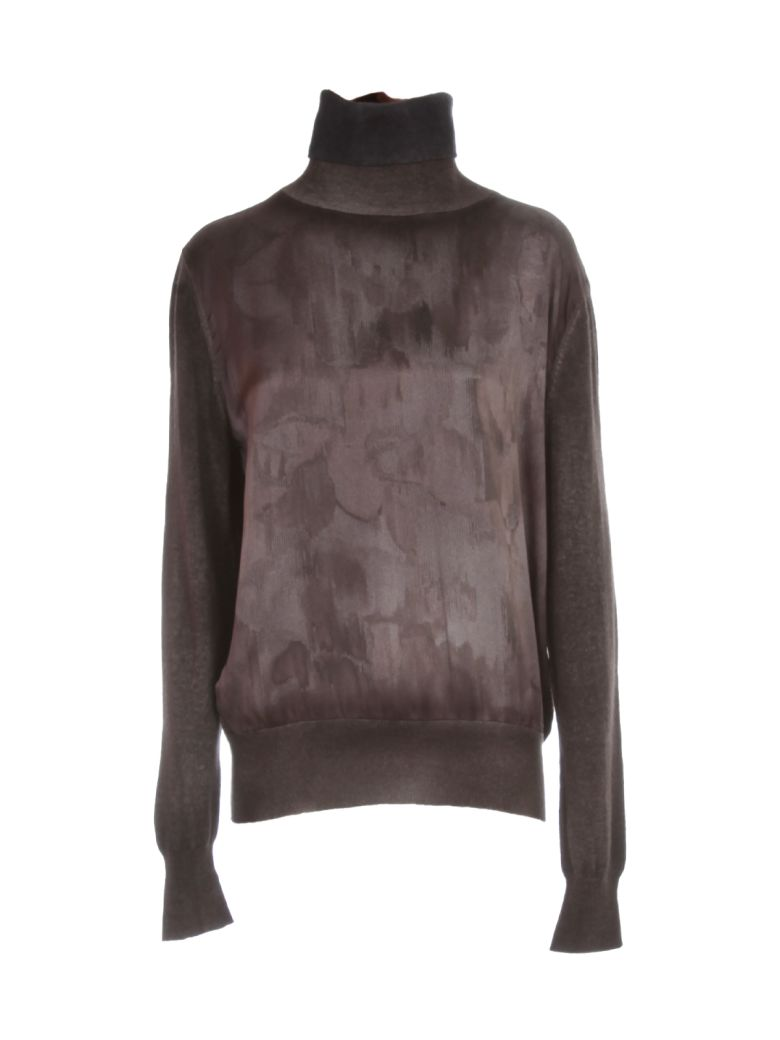 Avant Toi Cashmere High Neck Sweater W/ Satin Print In Front - N Carruba