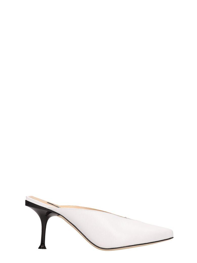 Sergio Rossi White Leather Open Decollete Sandals - white