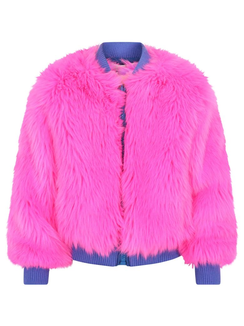 Alberta Ferretti Kids' Reversible Girl Bomber Jacket In Fuchsia