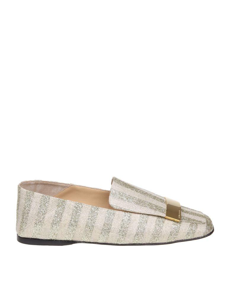 Sergio Rossi Slippers In Laminate Striped Fabric Platinum Color - Gold
