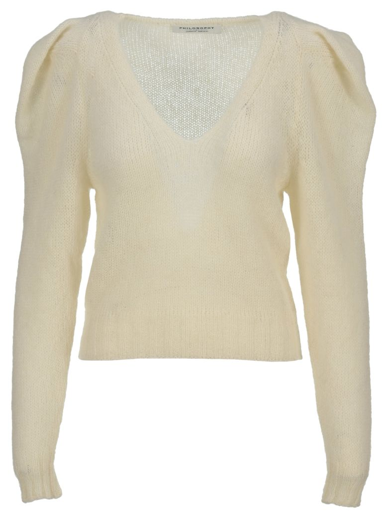 Philosophy di Lorenzo Serafini Philosophy V-neck Knit Sweater - IVORY