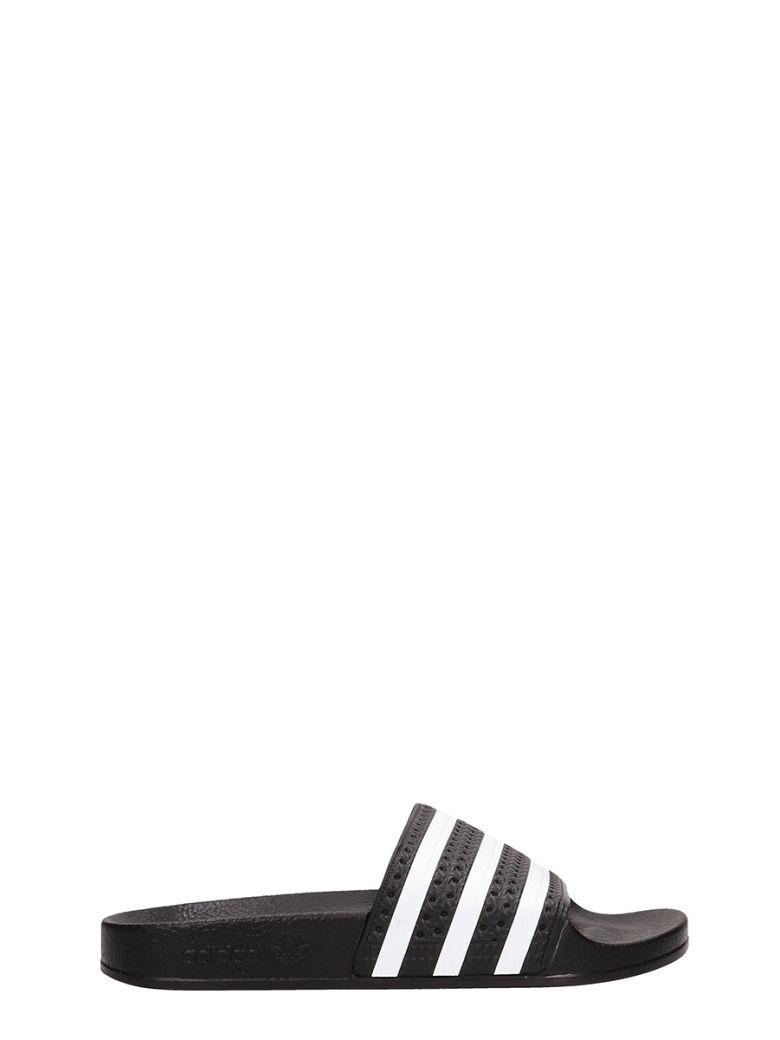 Adidas Black Rubber Adilette Sandals - black