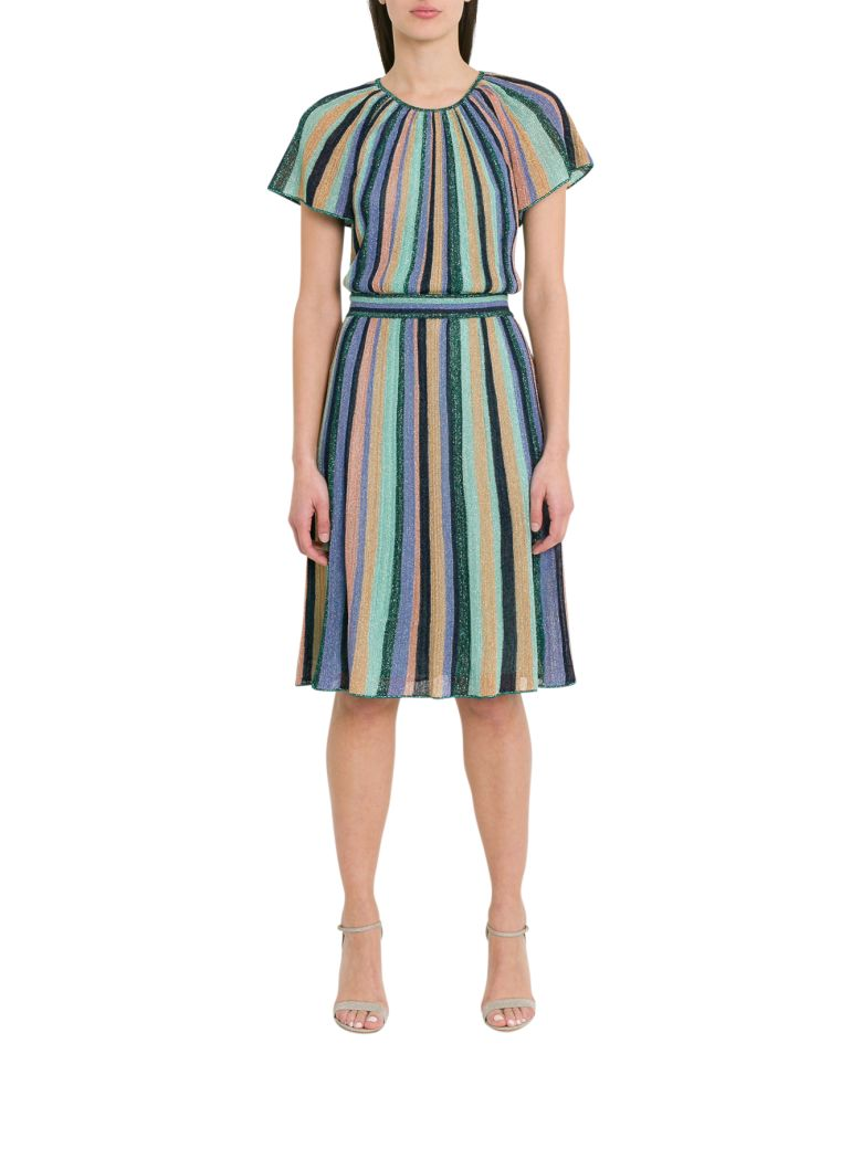 M Missoni Lurex Knit Midi Dress With Multicoloured Stripes Motif - Multicolor