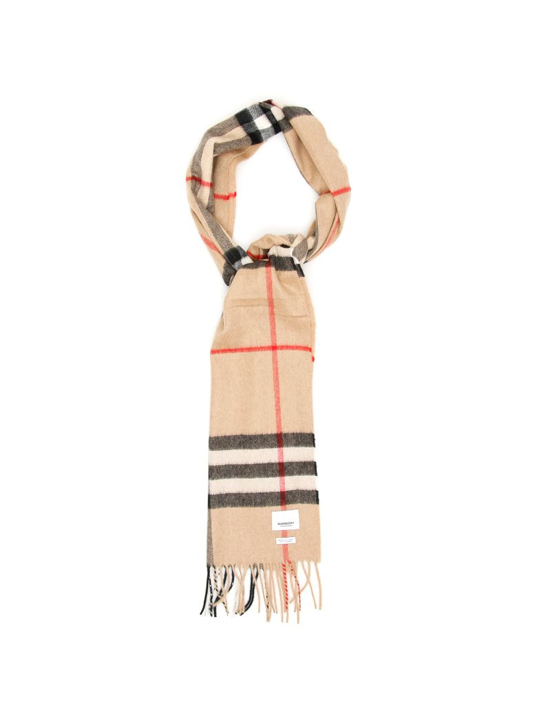 Burberry Giant Check Scarf - CAMEL CHECK (Beige)