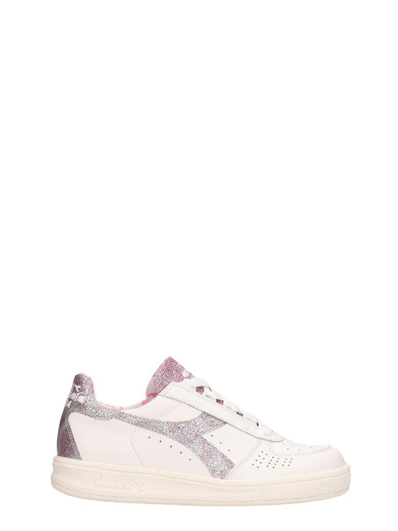Diadora Paisley White Pink Leather Sneakers - white