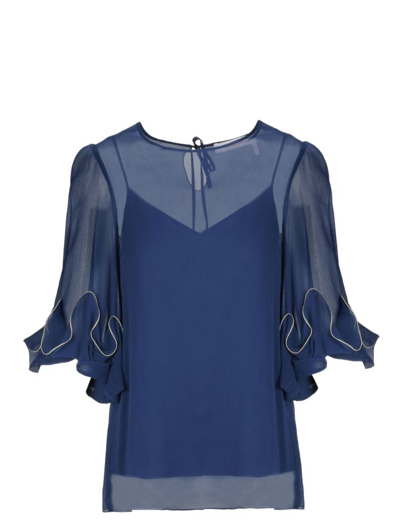 See by Chloé Lace Detail Blouse - Obscure Blue 403