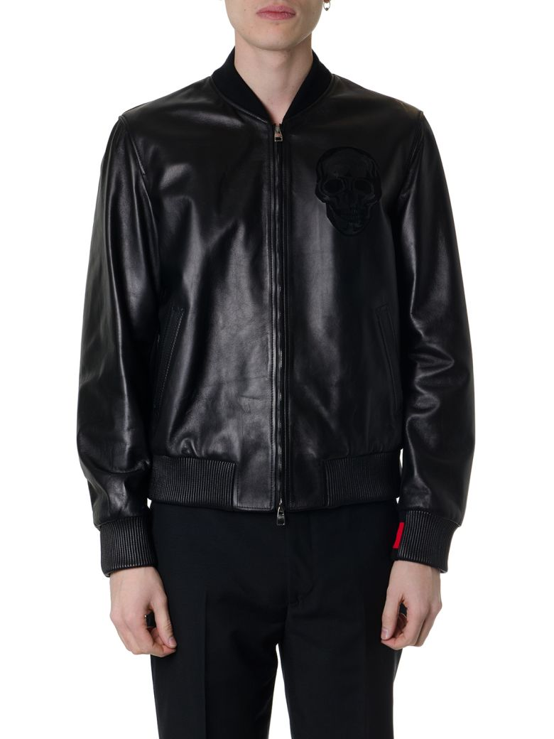 Alexander McQueen Black Lamb Leather Bomber Jacket With Fabric Inserts - Black