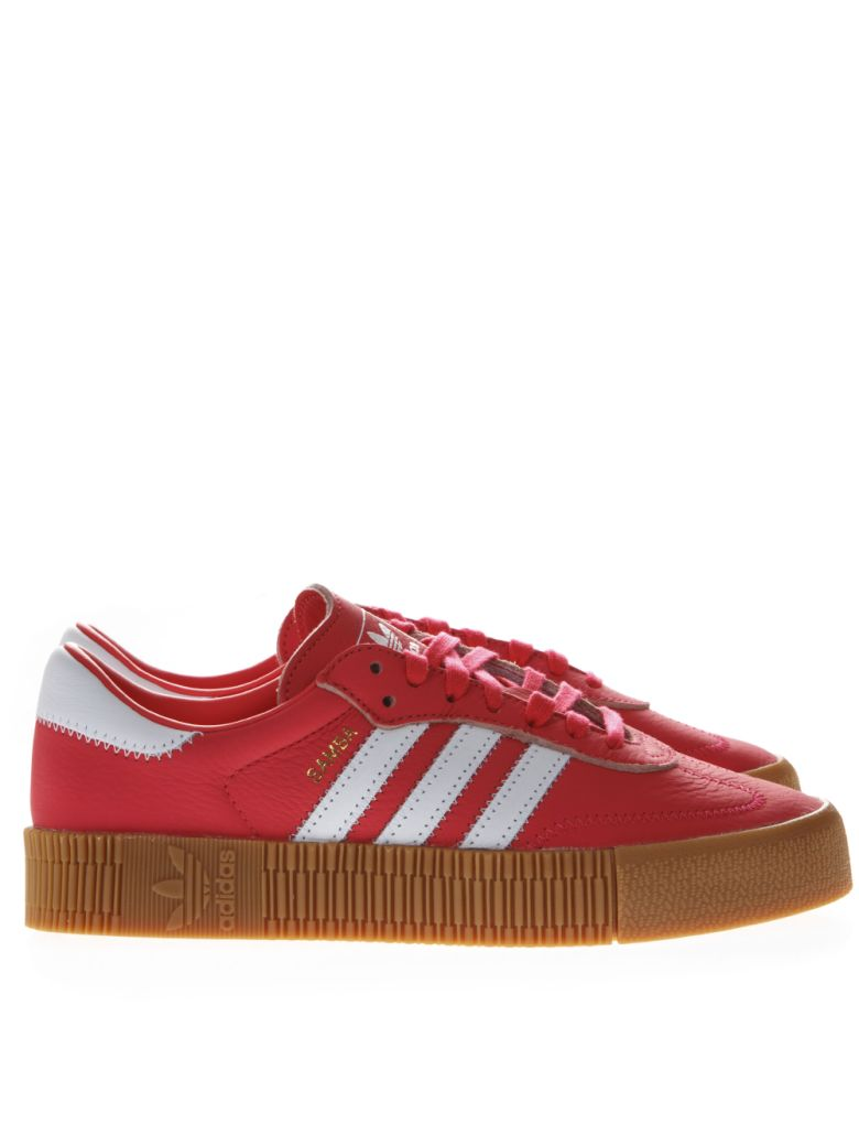 Adidas Originals Sambarose Red Leather Sneakers - Red