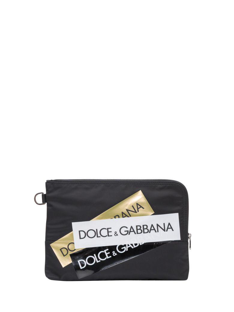 Dolce & Gabbana Multiple Logo Stripe Clutch - Nero