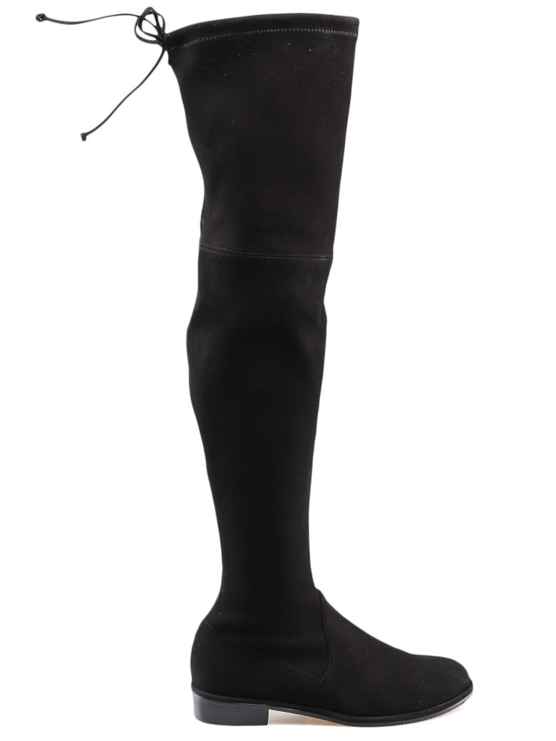Stuart Weitzman Suede Stretch Boot - Black