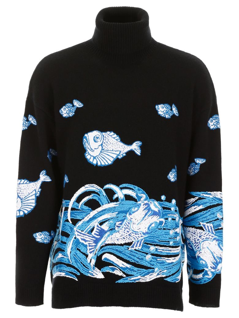 Valentino Embroidered Turtleneck - STAMPA PESCI (Black)