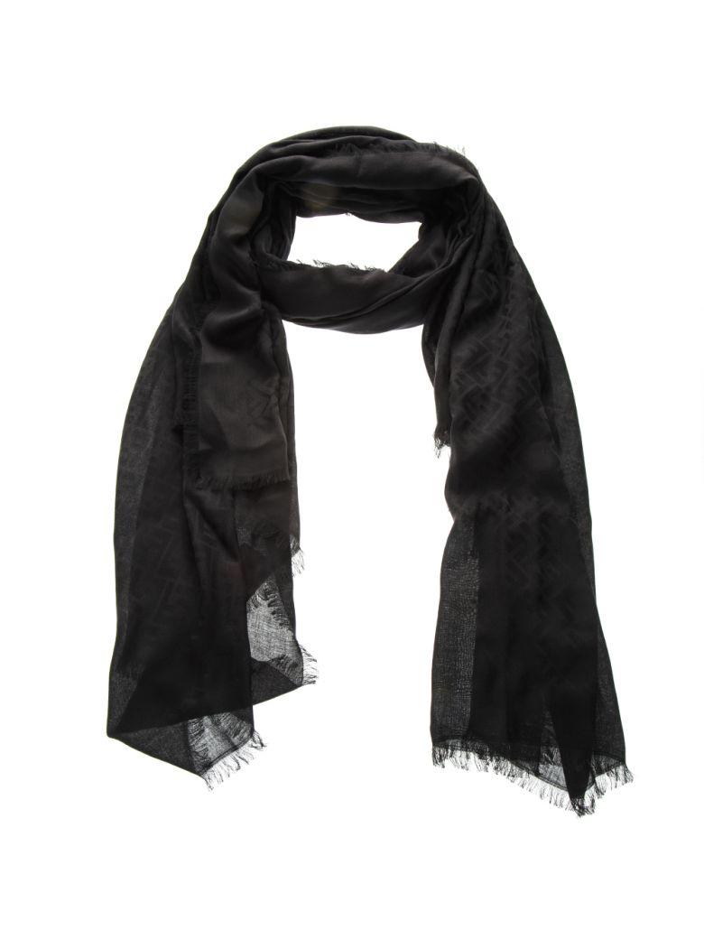 Fendi Black Modal Logo Scarf - Black