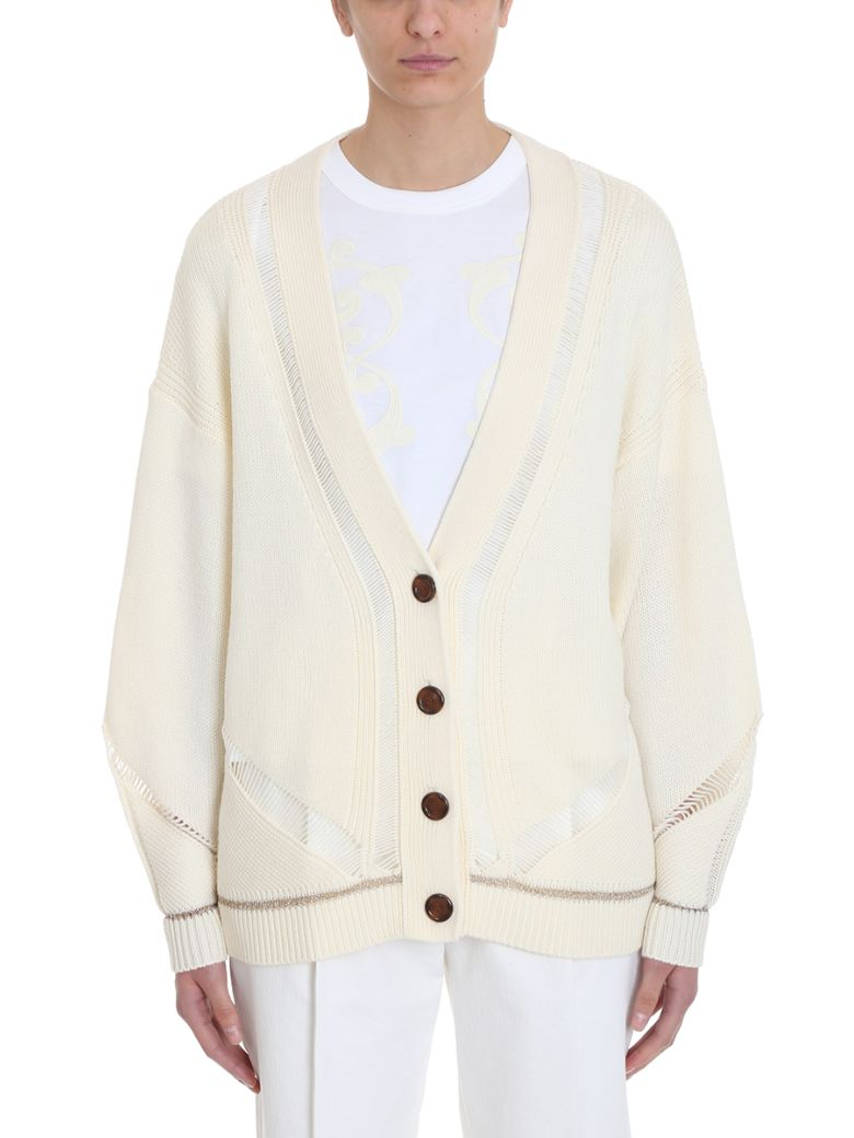 See by Chloé Cream Wool Cardigan - white