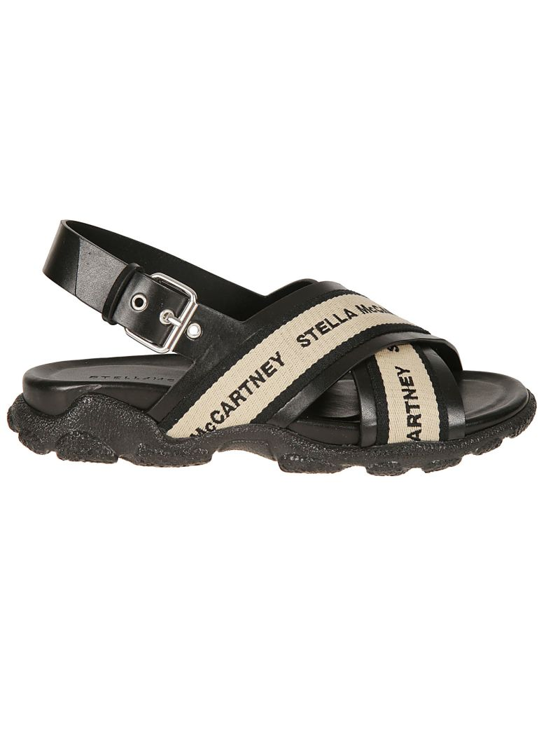 Stella McCartney Cross Straps Sandals - Black/taupe