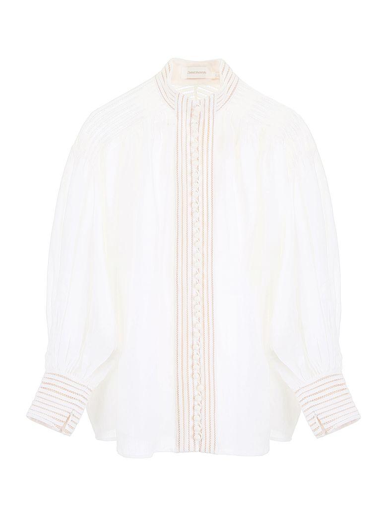 Zimmermann Linear Blouse - IVORY IVO|Bianco