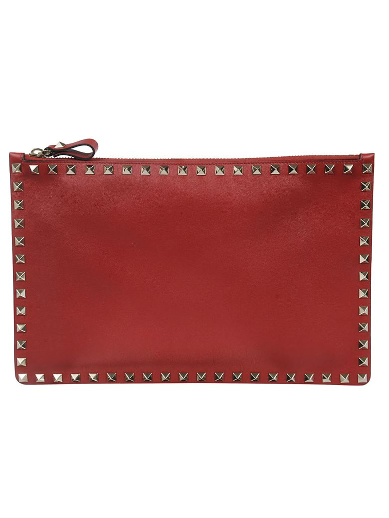 Valentino Rockstud Large Clutch - 0ro Rosso