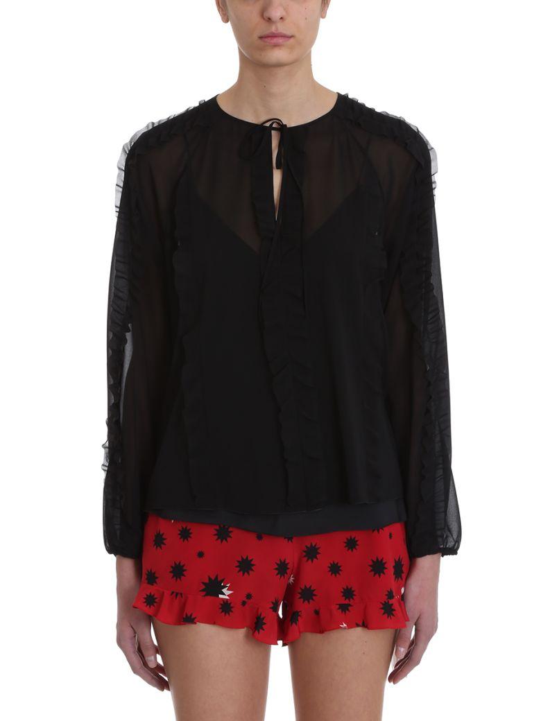 RED Valentino Black Silk Chiffon Blouse - cyan