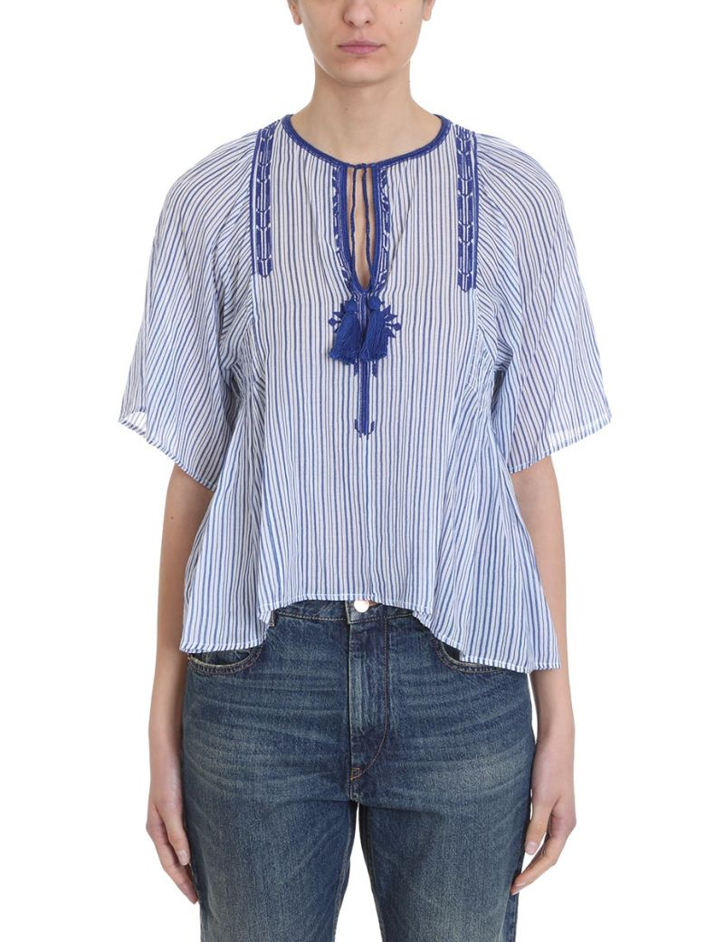 Isabel Marant Étoile Joya Embroidered Cotton Voile Blouse - blue