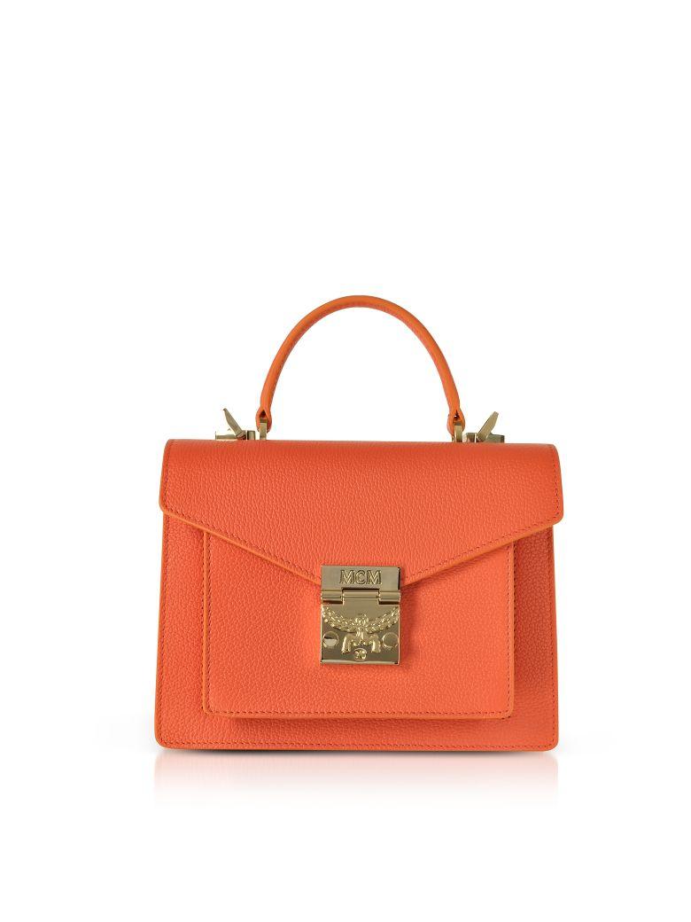 MCM Patricia Park Avenue Small Satchel Bag - Orange