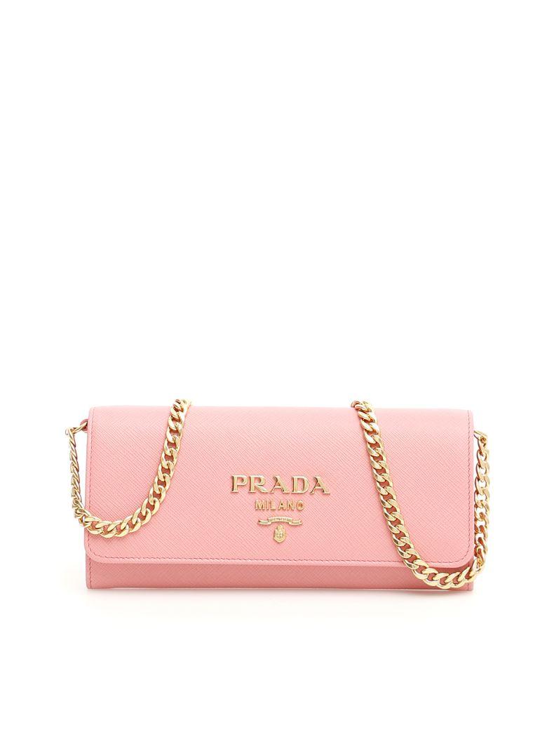 Prada Saffiano Clutch With Strap - PETALO (Pink)
