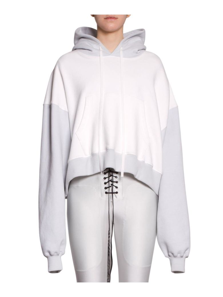 Ben Taverniti Unravel Project Cropped Cotton Hoodie - Bianco