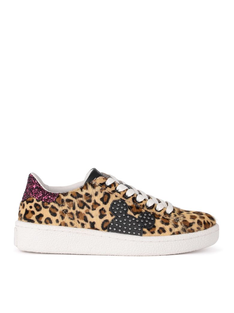 M.O.A. master of arts Moa Spotted Cow Hair Sneaker With Mickey Mouse Shape - ANIMALIER