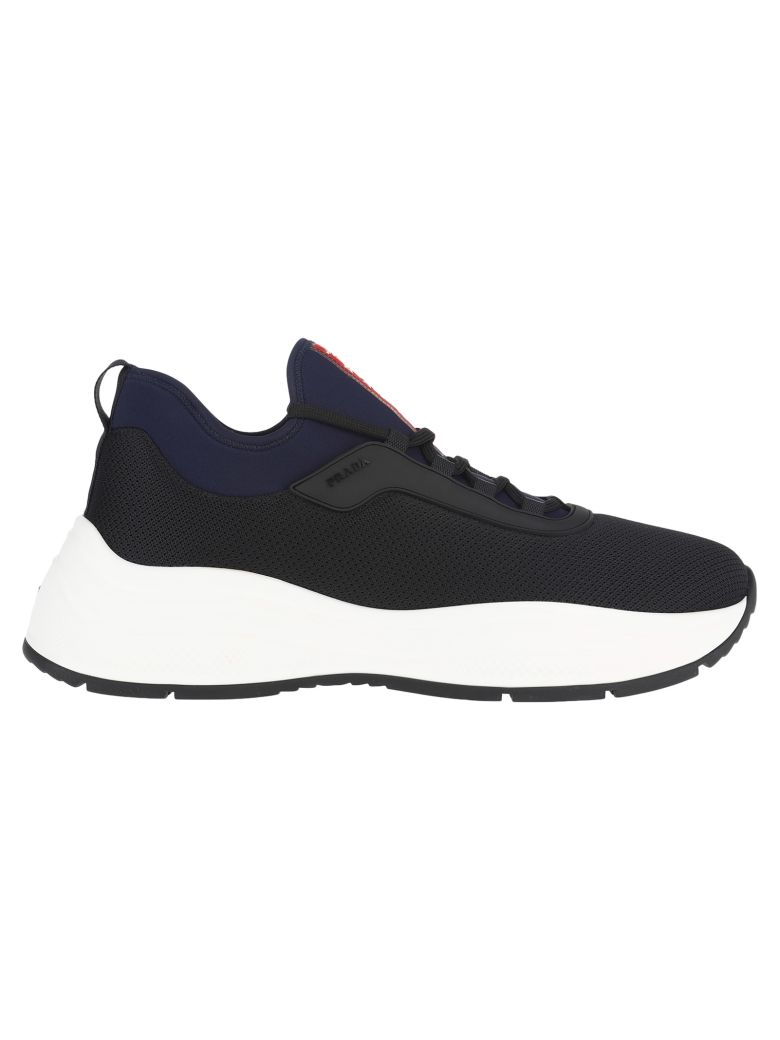 Prada Mesh And Neoprene Sneakers - BLACK + ROYAL