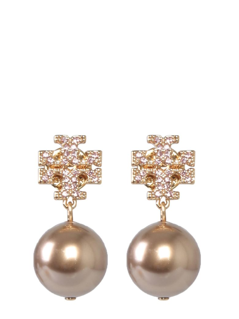 Tory Burch Crystal Logo Earrings And Pearl Pendant - ROSA