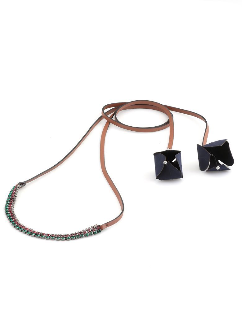 Marni Leather Necklace With Flowers - BLACK