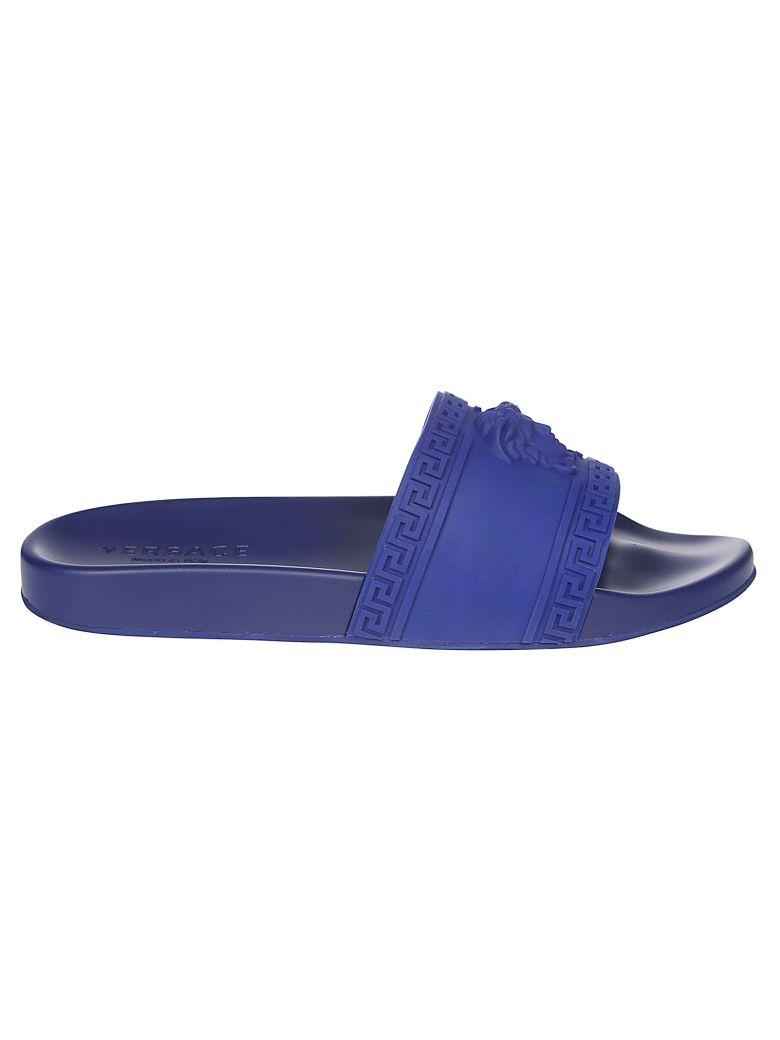 Versace Medusa Head Beach Sliders - Blue
