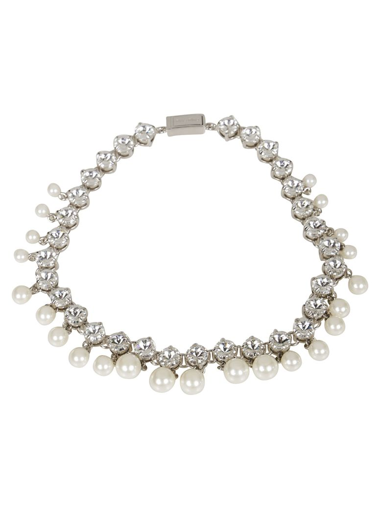 Miu Miu Pearl And Crystal Embellished Necklace - Silver